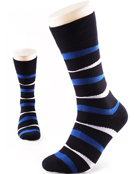 0b180c5fb621 VERO MONTE 4 Pairs Mens Dress Socks Striped - Mens Cotton Socks (Black,  8-10)