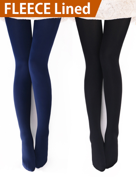 39b61d1883027c VERO MONTE 2 Pairs Womens Opaque Warm Fleece Lined Tights (BLACK NAVY) 46041