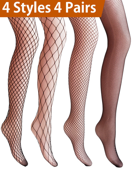 13eb34eff3e1 Vero Monte 4 Pairs Women s Argyle Fishnet Pantyhose Tights (Black)