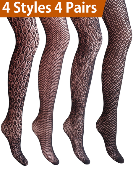 a95e62ab9c3ed Vero Monte 4 Pairs Women's Patterned Fishnet Pantyhose Tights (Black)