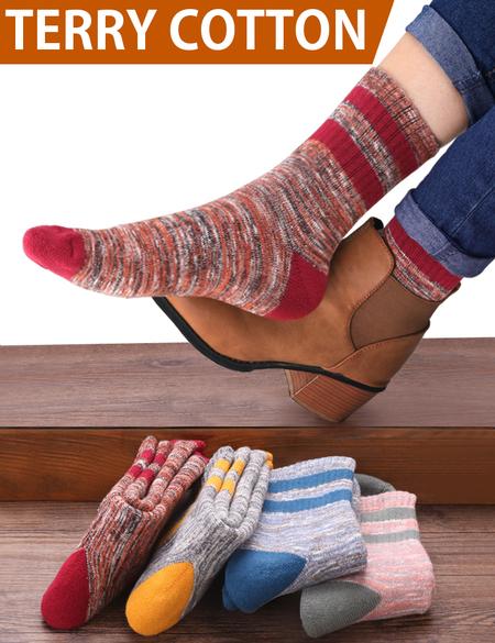 dcdf6b89ee6c VERO MONTE 4 Pairs Womens Winter Warm Crew Socks - Colorful Cotton Socks