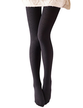 Vero Monte 1 Pair Women's Modal & Cotton Opaque Knitted Patterned Tights (Black)