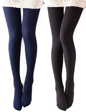 Vero Monte 2 Pairs Women's Modal & Cotton Opaque Knitted Patterned Tights (Black & Navy)