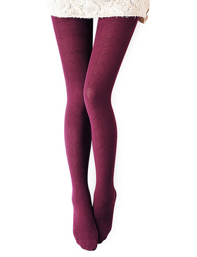 Vero Monte 1 Pair Women's Modal & Cotton Opaque Knitted Patterned Tights (Wine)