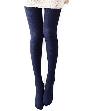 Vero Monte 1 Pair Women's Modal & Cotton Opaque Knitted Patterned Tights (Navy)