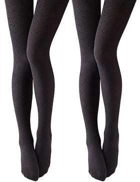 VERO MONTE 2 Pairs Opaque Tights 4 Women Control Top Tights -Knit Tights