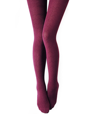VERO MONTE 1 Pair Wine Tights Cotton Tights for Women Patterned Pantyhose