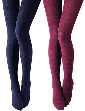 VERO MONTE 2 Pairs Women's Modal & Cotton Opaque Knitted Patterned Tights