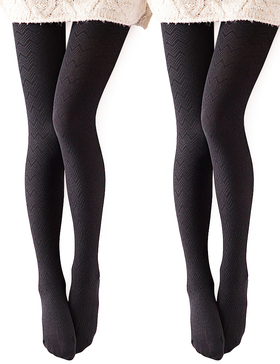 Vero Monte 2 Pairs Women's Modal & Cotton Opaque Knitted Patterned Tights (Black)