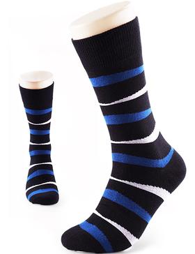VERO MONTE 4 Pairs Mens Dress Socks Striped - Mens Cotton Socks (Black, 8-10)