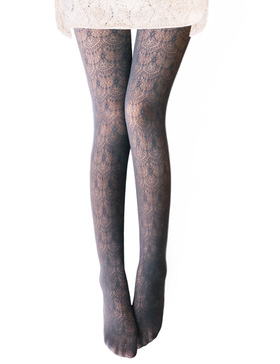 Vero Monte 1 Pair Women's Hollow Out Knitted Patterned Tights (Grey)