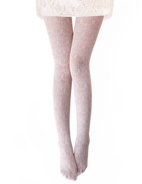 Vero Monte 1 Pair Women's Hollow Out Knitted Patterned Tights (White)