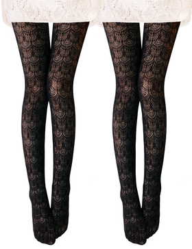 VERO MONTE 2 Pairs Women's Hollow Out Knitted Patterned Tights (Black + Black)
