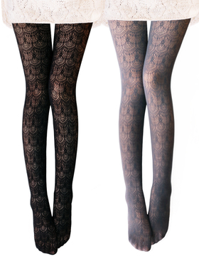 VERO MONTE 2 Pairs Women's Hollow Out Knitted Patterned Tights (Grey + Black)