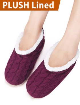 VERO MONTE 2 Pairs Womens Thick & Warm Slipper Socks (GREY + WINE, 6-7)42221