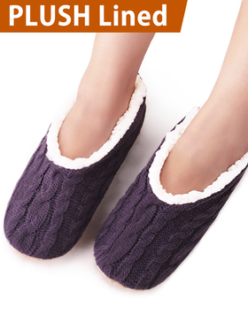 VERO MONTE 2 Pairs Womens Thick & Warm Slipper Socks (WINE + PURPLE, 6-7)42231