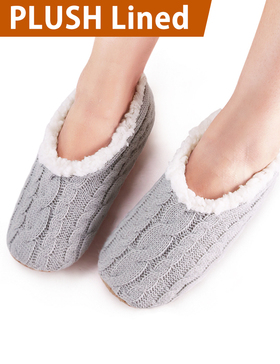 VERO MONTE 2 Pairs Womens Thick & Warm Slipper Socks (GREY + PURPLE, 6-7)