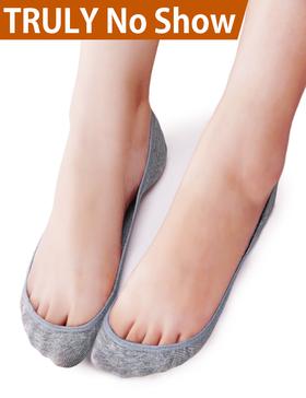 VERO MONTE 4 Pairs Womens No Show Socks(Grey, 9.5-11)