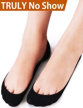 VERO MONTE 4 Pairs Womens No Show Socks(Black + Nude, 9.5-11)
