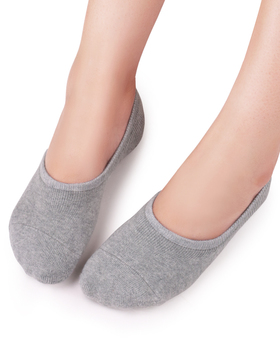 VERO MONTE 4 Pairs COMFY No Show Socks Women Cotton Liners (GREY + BLACK, 7.5-9)