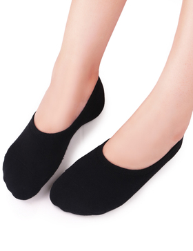 Vero Monte 4 Pairs Women Middle Profile No Show Socks (5.5-7, Black) 46621