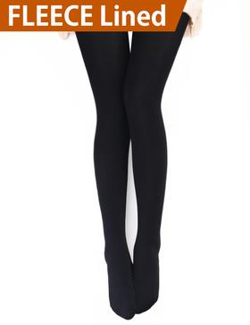 VERO MONTE 1 Pair Womens Opaque Warm Fleece Lined Tights (BLACK) 46011