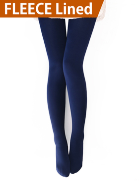 VERO MONTE 1 Pair Womens Opaque Warm Fleece Lined Tights (NAVY) 46021