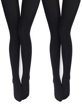 VERO MONTE 2 Pairs Womens Opaque Warm Fleece Lined Tights (BLACK) 46031