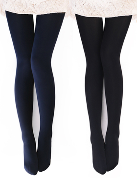 VERO MONTE 2 Pairs Womens Opaque Warm Fleece Lined Tights (BLACK + NAVY) 460425