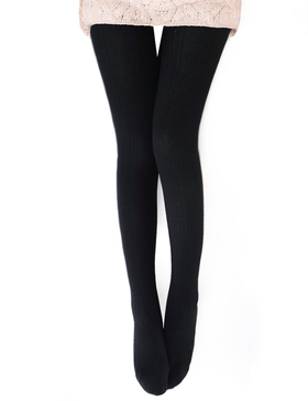 Vero Monte Womens Wool Blend Cable Knit Tights - Opaque Knitted Tights (Black)