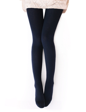 Vero Monte Womens Wool Blend Cable Knit Tights - Opaque Knitted Tights (Blue)