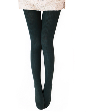 Vero Monte Womens Wool Blend Cable Knit Tights - Opaque Knitted Tights (Green)