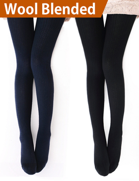 VERO MONTE 2 Pairs Womens Wool Blend Cable Knit Tights Knit Tights(Black+Navy)