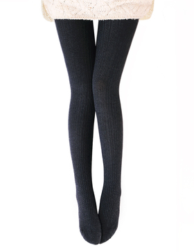 Vero Monte Womens Wool Blend Cable Knit Tights - Opaque Knitted Tights (Grey)