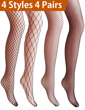 Vero Monte 4 Pairs Women's Argyle Fishnet Pantyhose Tights (Black)