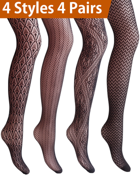 Vero Monte 4 Pairs Women's Patterned Fishnet Pantyhose Tights (Black)