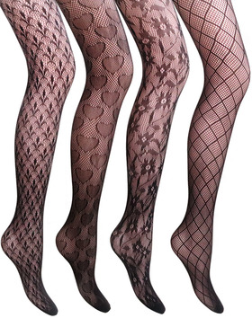 VERO MONTE 4 Pairs Fishnet Stockings for Women Net Tights (BLACK)