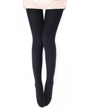 Vero Monte Womens Wool Blend Ribbed Tights - Opaque Tights Knit Tights (Black)