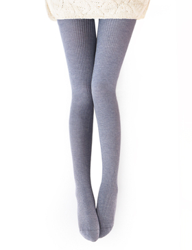 Vero Monte Womens Wool Blend Ribbed Tights Opaque Tights Knit Tights (Light Grey)