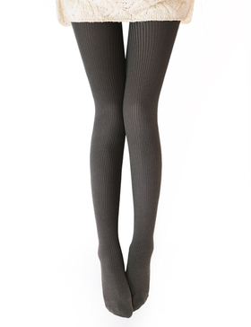 Vero Monte Womens Wool Blend Ribbed Tights - Opaque Tights Knit Tights (Coffee)