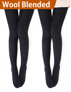 Vero Monte 2 Pairs Womens Wool Blend Ribbed Tights - Opaque Knit Tights (Black)