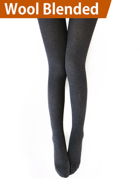 Vero Monte 1 Pair Womens Wool Blend Ribbed Tights Opaque Knit Tights (Dark Grey)