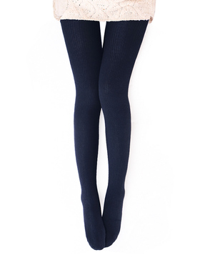 VERO MONTE 1 Pair Womens Wool Blend Ribbed Tights Opaque Patterned Tights (NAVY)45842