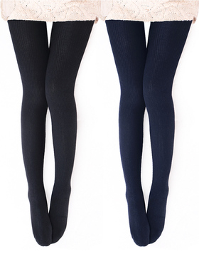Vero Monte 2 Pairs Womens Wool Blend Ribbed Tights (BLACK + NAVY)
