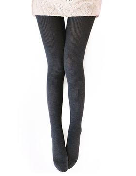 Vero Monte Womens Wool Blend Ribbed Tights Opaque Tights Knit Tights (Dark Grey)