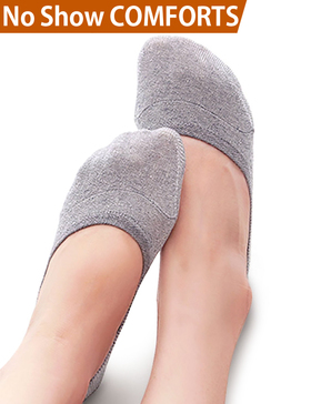 Vero Monte 4 Pairs Women Middle Profile No Show Socks (6-7.5, 2 Grey + 2 Skin)