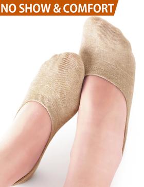 VERO MONTE 4 Pairs Moisture Wicking No Show Socks Women Liner Socks(NUDE, 8-9.5)