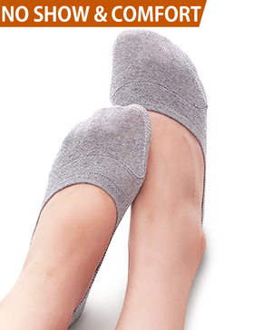 Vero Monte 4 Pairs Women Middle Profile No Show Socks (6-7.5, Grey)