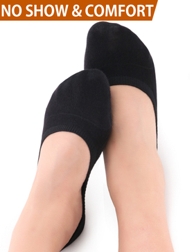 Vero Monte 4 Pairs Women Middle Profile No Show Socks (6-7.5, Black)