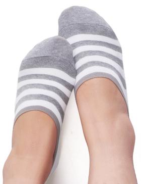 VERO MONTE 4 Pairs Womens Stripe No Show Socks (BLACK+GREY, 6-8) Sport No Show